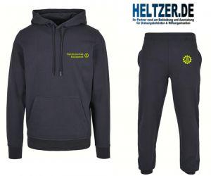 """THW Freizeitanzug ( Sweatshirt oder Kapuzenshirt und Jogginghose ) mit bestickem """"Technisches Hilfswerk"""" Logo (vorne) """"THW Zahnrad Logo"""" (Hose)"""