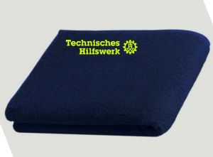 THW Bade-Handtuch, 70 x 140 cm, bestickt mit vers. Logo z.B. Technisches Hilfswerk, auf Wunsch mit OV