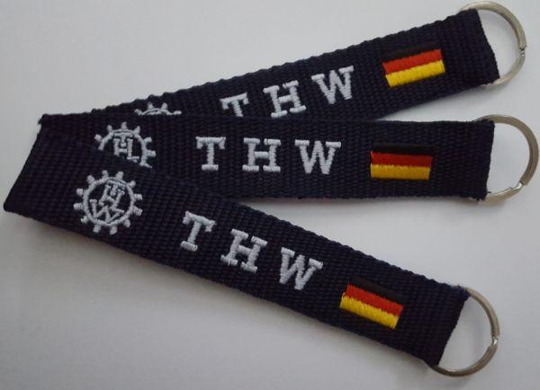 THW Schlüsselanhänger mit beidseitigen gesticktem THW-Logo