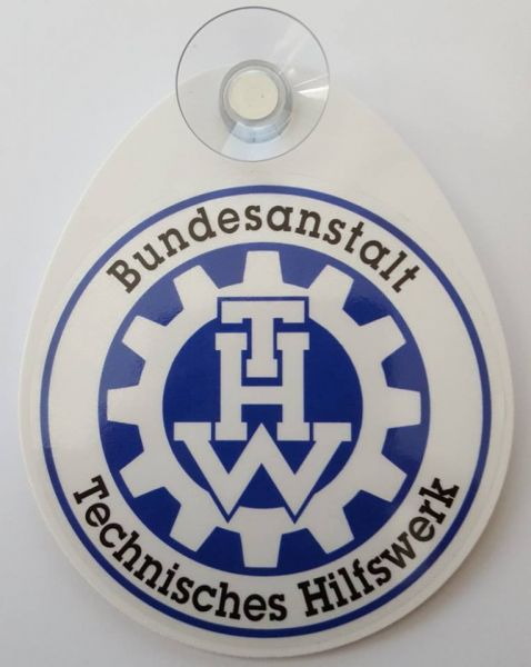 THW Autoplakette mit Saugnapf (Bundesanstalt THW)