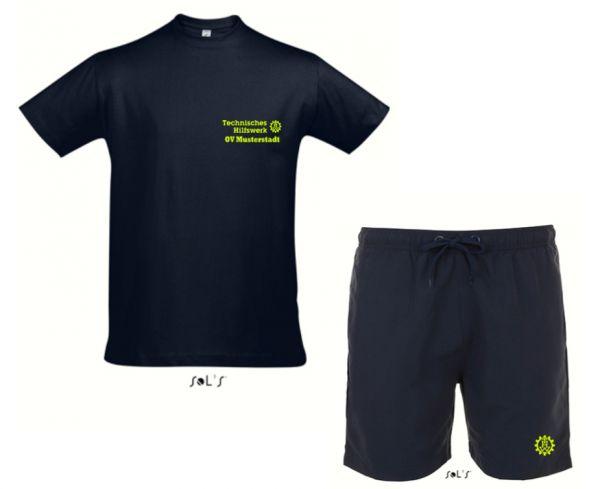 Badeshorts (S - 5XL) + T-Shirt (S - 5XL) mit gesticktem Technisches Hilfswerk u. OV bzw. THW Zahnrad Logo
