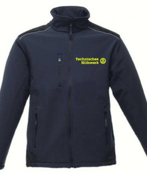 THW Softshelljacke mit Reflektor-Besatz an Frontseite und neongelb gesticktem Technisches Hilfswerk Logo auf Wunsch mit Ortsverband